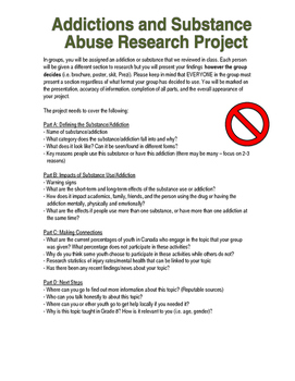 Grade 8 Substance/Addiction Health Project Outline - Ontar