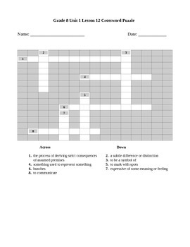Expeditionary Learning Grade 8 Unit 1 Lesson 12 Crossword Puzzle