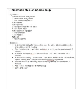 Grade 8 friendly recipes with 60 minute class