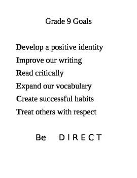 Grade 9 Learning Goals