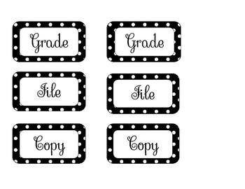Grade, Copy, File Organizing Printouts (with Polka Dots)