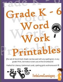 Literacy Centre 48 Word Work Printable Activities - Grade