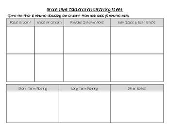 Grade Level Collaboration Recording Sheet