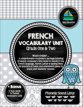 Mots Phonétiques (Vocabulary Lists) - French Immersion Printable