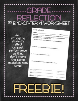Grade reflection for the end of the term