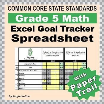 Grade 5 Common Core Math EXCEL Goal Tracker Spreadsheet wi