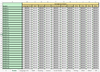 Gradebook Template - Excel - School License