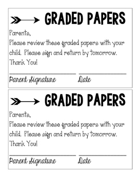 Graded Papers Coversheet