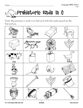 Grades 1-2 Language Arts Unit 2: Prehistoric Pals Ending C
