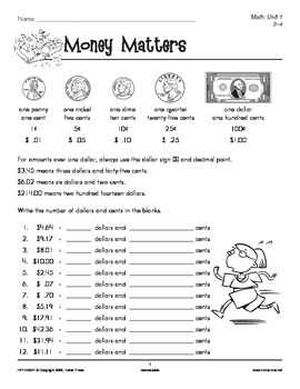 Grades 3-4 Math Unit 1: Money and Time