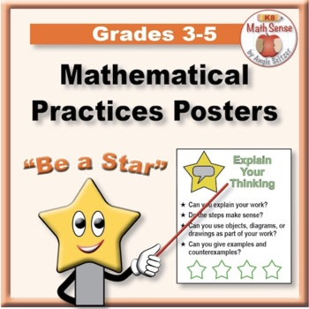 """Grades 3-5 """"BE A STAR"""" Mathematical Practices Posters with"""
