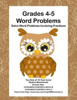 Grades 4-5 Math Task Cards-Solve Word Problems Involving F