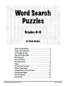 Grades 4-6 Language Arts: Word Search Puzzles