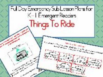 Things To Ride - A Common Core Aligned Full Day For Your Sub