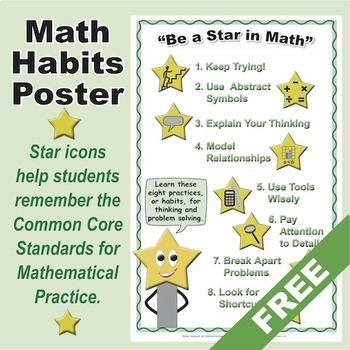 Grades K-5 FREE Math Habits Poster: 8 Icons for Mathematic