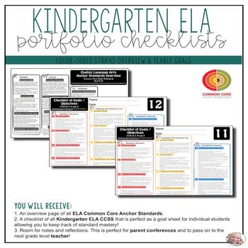 Grade Kindergarten ELA Portfolio Checklists ~ CCSS Overvie