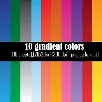 Gradients backgrounds Set Clipart Digital Clip Art Graphic