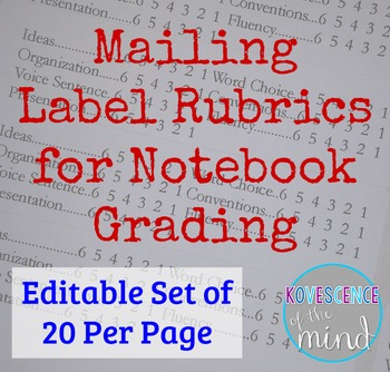 Grading Rubric on 20 Mailing Labels-Editable