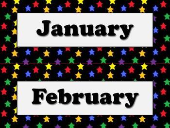 Months of the Year Calendar Strips - Superstars Theme - Ki