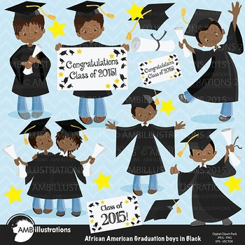 Graduation Clipart, African American Boys Clipart, Black G