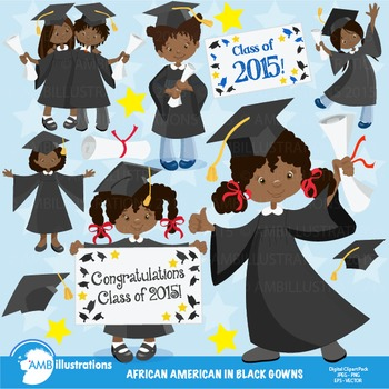Graduation Clipart, African American Girls Clipart,Black G
