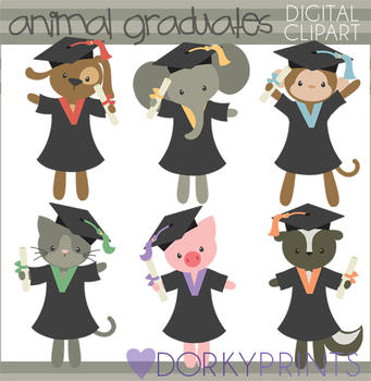 Graduation Animals Clipart