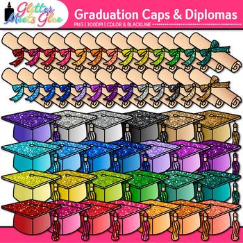 Graduation Clip Art {Cap and Diplomas for End of Year & Di