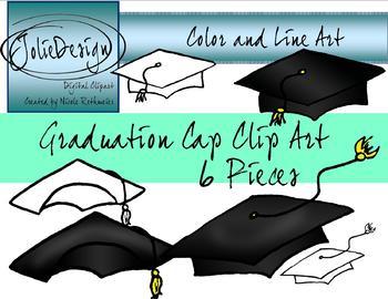 Graduation Caps Clipart Color and Line art - 6 piece set