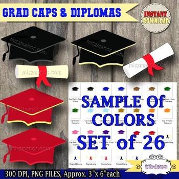 Graduation Clipart, Digital Clip art cap, diploma, PU / CU