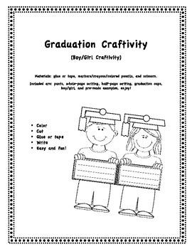 Graduation Craftivity/Writing, Boy/Girl Craftivity/Writing
