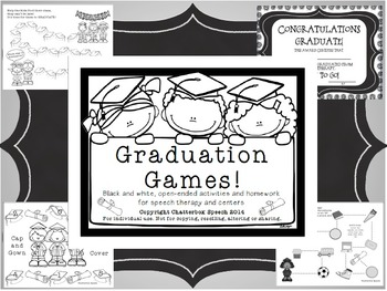 Graduation Games!Open-ended speech and language activities