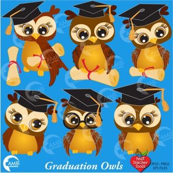 Graduation Clipart, Owls Clipart, Owl Clip Art, AMB-266