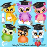 Graduation Owls, Colorful Graduation Owls Clipart AMB-267