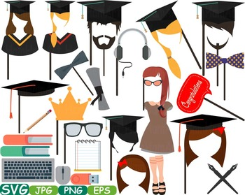 Graduation Photo Booth Props clip art high school college
