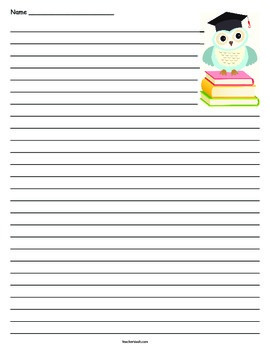 Graduation / Promotion Owl Lined Paper