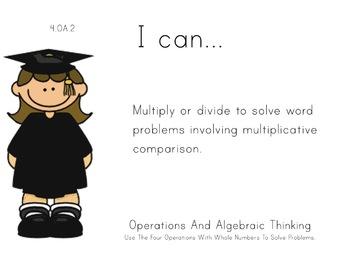 Graduation Theme 4th grade math Common Core Posters fourth