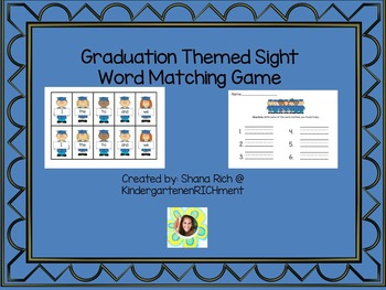 Graduation Themed Sight Word Matching Game