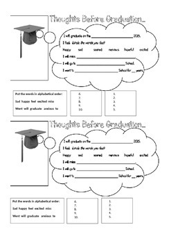 "Graduation Worksheet - ""Thoughts on Graduation"""