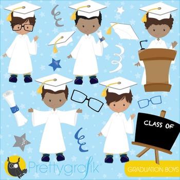 Graduation boys clipart commercial use, vector graphics, d