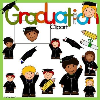 Graduation clipart - school children kids  - Commercial Us