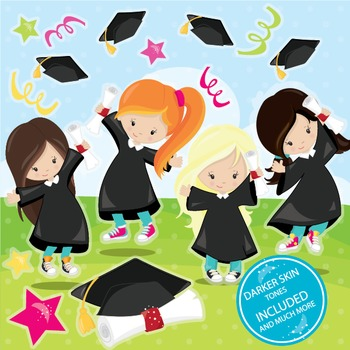 Graduation girls clipart commercial use, vector graphics,