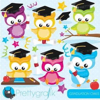 Graduation owls clipart commercial use, graphics, digital