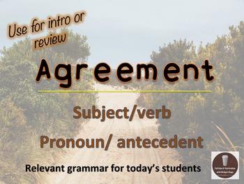 Agreement (S/V, Pronoun/Antecedent) Grammar PowerPoint Pre