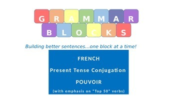 """Grammar Blocks - French Pouvoir with emphasis on """"Top 50"""" verbs"""