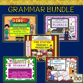 Grammar Bundle!! Plurals, Pronouns, Prepositions, Nouns, V