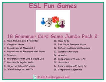 Grammar Card Games Jumbo Pack 2 Game Bundle