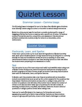 Comma Usage - Quizlet Grammar Lesson