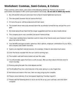 Grammar: Commas & Semi-Colon Worksheet