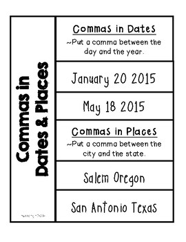 Grammar- Commas in Dates & Places {Interactive Notebooks}
