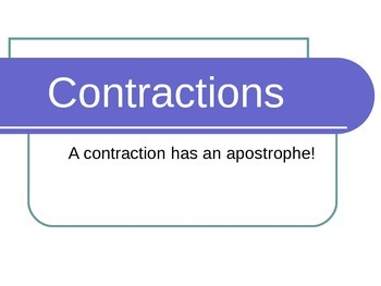 Grammar: Contractions Powerpoint - Great Visual for students